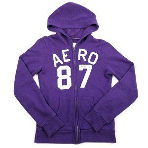 Aeropostale Purple White Zip Up Hoodie Sweater Med
